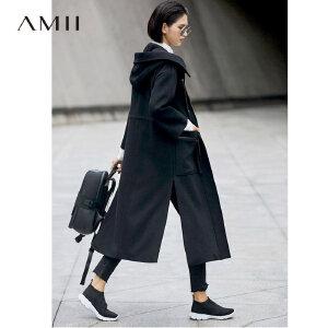 Amii[极简主义]帅气型格 抽绳毛呢外套女 2017冬装新宽松连帽大衣