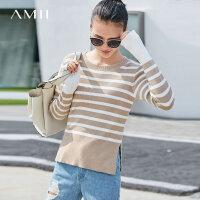 【预估价115元】Amii极简法式小清新条纹毛衣女2018秋冬新款长袖套头圆领针织上衣