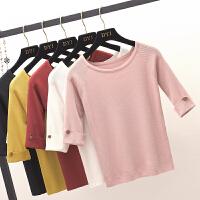 韩版五分袖冰丝针织t恤修身显瘦纯色圆领中袖针织打底衫薄