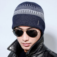 毛线帽子男士针织帽韩版潮加绒加厚保暖户外套头滑雪护耳帽