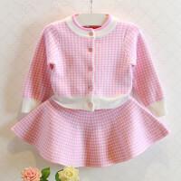 Bear Leader2018 韩版女童千鸟格针织套装女童长袖毛衣开衫+裙子两件套童装