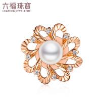六福珠宝18K金钻石海水珍珠吊坠一款两戴钻石胸针定价N149