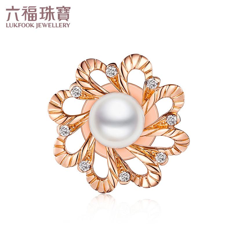 六福珠宝18K金钻石海水珍珠吊坠一款两戴钻石胸针定价N149 支持礼品卡 即可作为吊坠 也可变为胸针