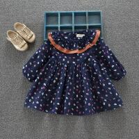 早春款复古女宝宝小碎花裙长袖连衣裙韩版女童荷叶边时尚长袖裙子