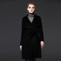 毛呢外套女冬装新款女装欧美中长款拼接长袖呢大衣速卖通 黑色