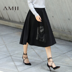 【大牌清仓 5折起】Amii[极简主义]秋装新款印花伞裙A字半身裙女