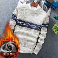 秋冬季男装青年男士加绒加厚毛衣圆领针织衫打底衫学生潮保暖衣服