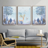客厅装饰画沙发背景墙壁挂油画北欧风格现代简约餐厅玄关麋鹿山水 70*100 三幅价格(黑色边框) 冰晶玻璃