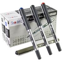 白雪直液式中性笔走珠笔针管型水笔学生用黑色碳素签字笔0.5