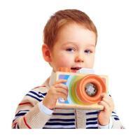 木制卡通单反相机式万花筒 多棱镜百变蜂眼效果儿童趣味科教玩具
