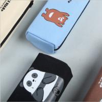 青壹坊TR-AA29618三只熊手拎大方形笔袋4款图案颜色随机创意文具笔盒文具袋韩式风格大中小学生幼儿园男女孩办公开学