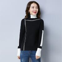 高领毛衣女套头秋冬新款韩版拼接宽松加厚百搭针织打底衫长袖