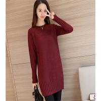 秋冬装新款韩版宽松加厚中长款时尚长袖针织打底衫毛衣女潮 均码