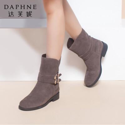 Daphne/达芙妮反绒粗高跟皮带扣套筒女短靴年末清仓,售罄不补货!