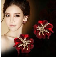 大耳钉女新娘韩国气质花朵红色玫瑰无耳洞耳夹海星纯银耳环耳饰品