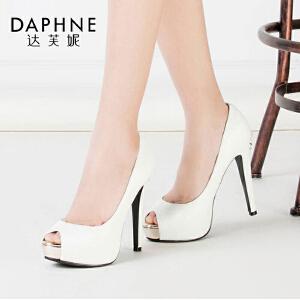 Daphne/达芙妮单鞋特价动物纹超高细跟防水台鱼嘴单鞋1016102005