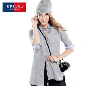 BRIOSO 女装衬衫秋装新款条纹衬衫女 欧美风百搭性感女男朋友衬衣 WE19095-5