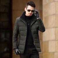 冬季羽绒服男新款修身中长款加厚羽绒服外套中年爸爸装保暖休闲