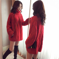 2018秋季新款中长款红色高领套头毛衣女秋冬季韩版新款宽松慵懒加厚打底针织衫