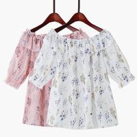 2018夏季新款甜美露肩木耳荷叶花边中袖上衣女一字肩印花雪纺衫