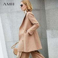 【到手价291元】Amii极简时尚赫本风双排扣毛呢外套女2018冬新修身开衩中长款大衣