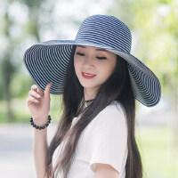 户外遮阳帽女防晒大沿帽遮脸帽子海边度假可折叠时尚沙滩帽