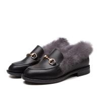 秋冬季新款女鞋真皮兔毛加绒休闲鞋平底低跟一脚蹬皮鞋子棉鞋