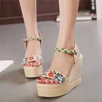 实拍夏季民族风真皮高跟女鞋绣花鞋坡跟凉鞋