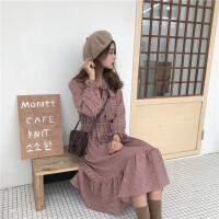 2018春夏新款韩版V领系带蝴蝶结修身雪纺长袖连衣裙女装格子长裙