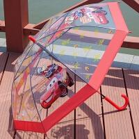透明加厚雨伞 男女儿童汽车蜘蛛侠卡通伞儿童伞小孩可爱学生长柄伞 汽车透明雨伞3-10岁