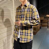 男长袖衬衫春秋韩版潮流青少年学生格子休闲衬衣男宽松外套衣服
