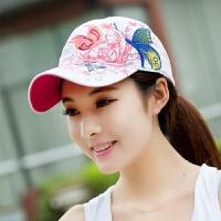 帽子夏季女士蝴蝶刺绣棒球帽韩版潮百搭嘻哈太阳帽鸭舌夏天遮阳帽 可调节(54-60)cm
