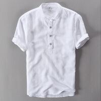 中国风男装亚麻衬衫男复古上衣薄棉麻T恤半袖体恤唐装潮