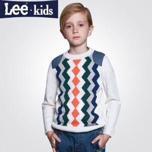 LEE童装 秋款男童休闲线衣套头毛衣中大童儿童长袖针织衫2RW40909