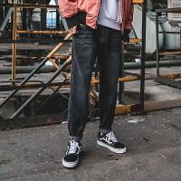 简约复古做旧水洗牛仔裤男秋冬日系青年学生宽松直筒长裤