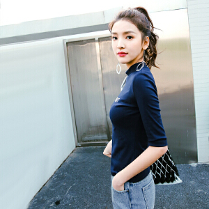 【七格格年中狂欢提前购 到手价:55.8元】七格格复古港味半袖T恤上衣女装韩版学生百搭春款新款半高领打底衫