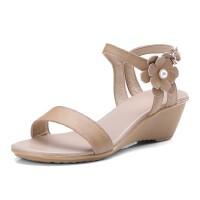 ELEISE美国艾蕾莎新品017-b59-05韩版头层牛皮真皮里外全皮坡跟中跟简约舒适百搭花朵女士凉鞋