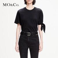 MOCO2019春季新品纯棉解构绑带圆领T恤MAI1TEE012 摩安珂