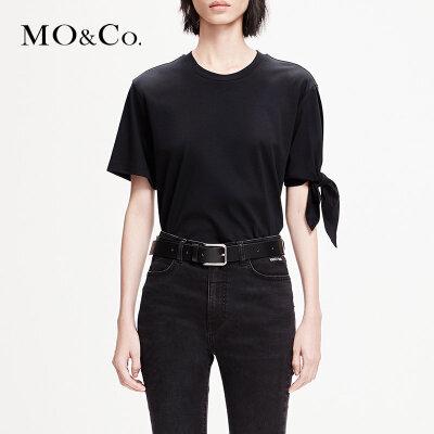 MOCO2019春季新品纯棉解构绑带圆领T恤MAI1TEE012 摩安珂 满399包邮 解构设计 纯棉材质