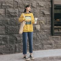 韩版休闲牛仔裤2019秋冬新款女装学生高腰直筒百搭港风显瘦长裤子