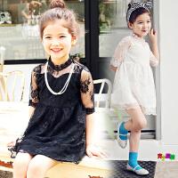 2018夏季韩版童装女童中短袖连衣裙蕾丝中小儿童公主裙夏天裙子