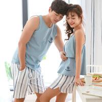 情侣睡衣女士夏季无袖薄款纯棉两件套装背心男士韩版夏天可爱性感