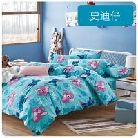 卡通四件套宿舍棉1.5m床笠床单被套1.2儿童床上用品三件套4 天蓝色 新品 史迪仔
