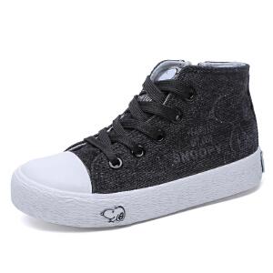 史努比童鞋男童帆布鞋中帮儿童运动鞋中大童布鞋板鞋