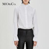 MOCO复古纯棉高领花边木耳边绑带衬衫MA174TOP115 摩安珂