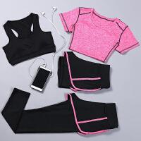 春夏健身房瑜伽服短袖上衣女跑步运动服背心长裤健身服套装显瘦