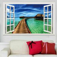 墙贴卧室假窗户风景装饰墙贴浪漫海景床头墙贴画客厅背景墙贴纸