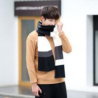 男士围巾冬季百搭韩版新款学生保暖简约撞色围巾男潮年轻人围巾男