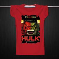 复仇者联盟2 短袖T恤绿巨人t恤红脸浩克T恤 青少年学生半袖
