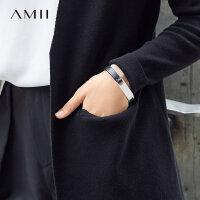 【每满200减100 多买多减 不封顶】Amii[极简主义]牛皮手镯2017新款黄铜镀银几何拼接个性首饰